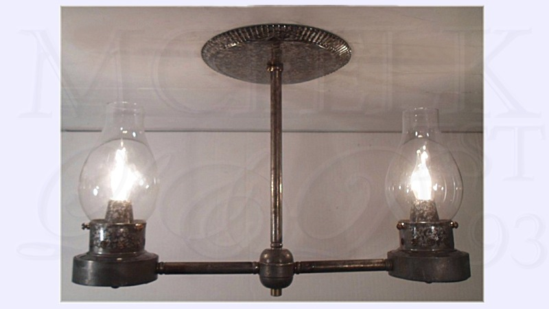 1830 Camphene Oil Ceiling Mounted Chandelier