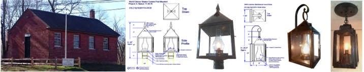 Custom Ceiling wall post mounted lanterns School House Rodman NY