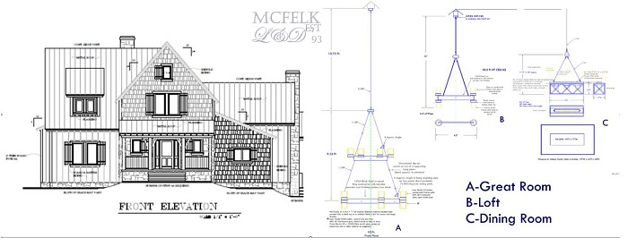 Custom proposed chandeliers private residence 22ft-ceiling