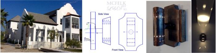 Custom exterior wall sconces N Freer Design Consulting Panama City Beach Fl