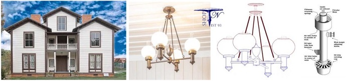 Custom Argand ceiling chandelier George Elias Nissen House Lewisville nc
