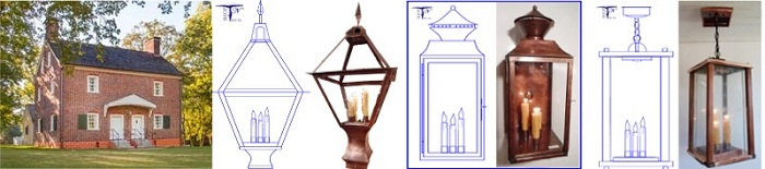 Custom exterior wall post ceiling lanterns Moravian Historic Phillip Hoehn's House Clemmons NC