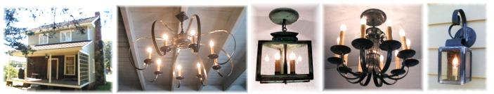 Custom chandeliers, lanterns for clayton farm